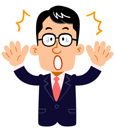 A serious businessman wearing glasses is surprised