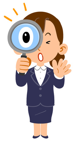 Business woman newcomer job hunting student amazed at peering into the magnifying glass