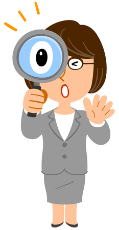 Business woman glasses surprised to look into the magnifying glass
