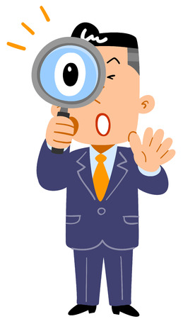 A surprising businessman looking into the magnifying glass