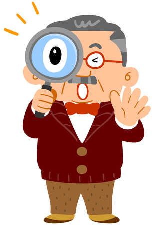 Middle-aged man unexpectedly amazing peeping through the magnifying glass Фото со стока - 115780260