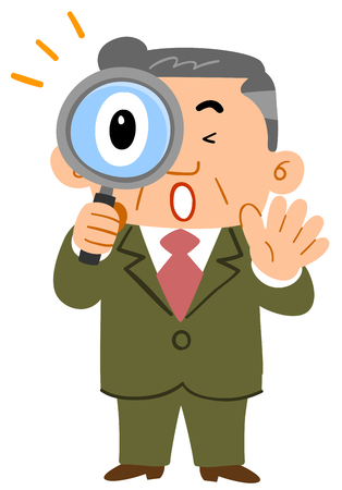 Businessman surprised peeping through the magnifying glass Middle-aged