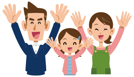 Three families who are delighted are the only girls Illustration