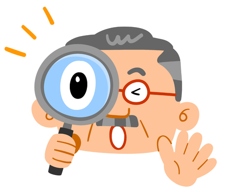 Middle-aged man surprised peeping through the magnifying glasses a Huge layer of beard glasses