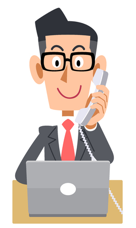 Businessman phone extension PC glasses Ilustrace