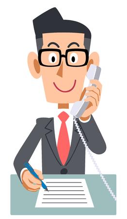 Businessman extension phone memo