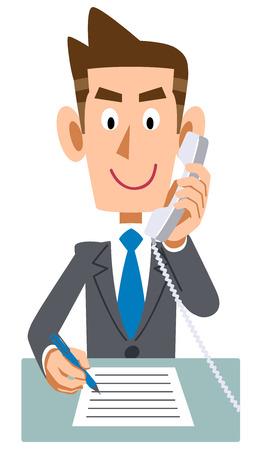 Businessman phone extension memo Ilustrace