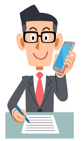 Businessman phone extension memo Illustration