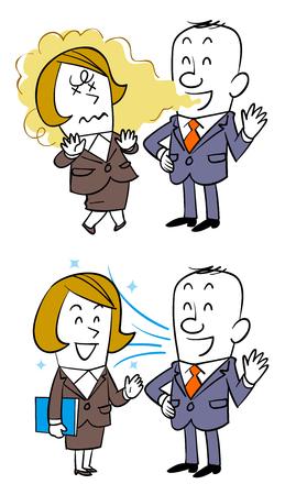 Gespräch mit weiblichen Angestellten, wenn Mundgeruch auftritt oder der Atem nicht stinkt