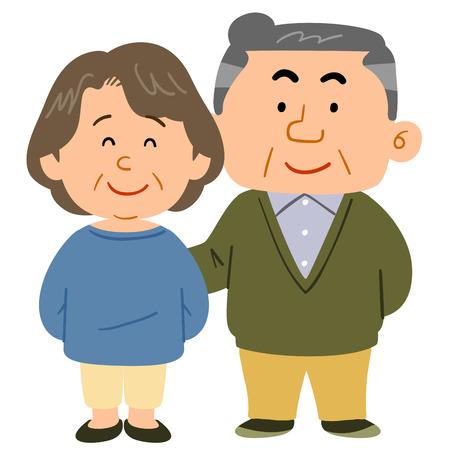 Cuddling senior couple