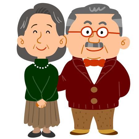 Cuddling senior couple who looks wealthy