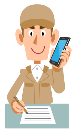 A Male working beige work clothes to write letters handwritten while talking on mobile phone