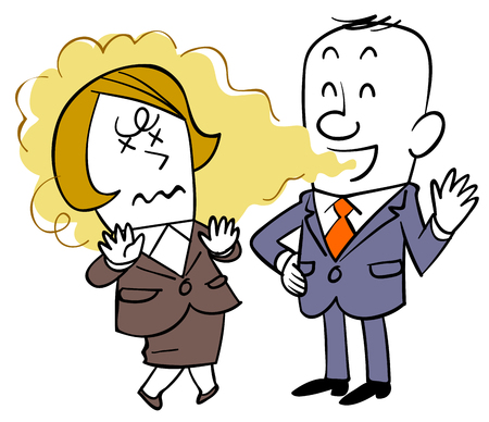 A businessman who does not notice bad breath and a woman who suffers  イラスト・ベクター素材