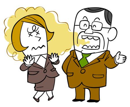 Nieświeży oddech męskiego szefa i żeński personel cierpiący na zapach