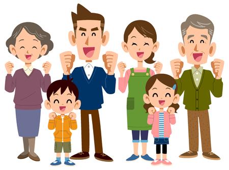 Una famiglia da tre generazioni che sembra essere divertente Vettoriali