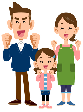 fun Three people in family, Parents and daughter Stock Illustratie