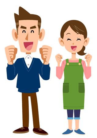A woman with a whole-body apron of a fun young couple Ilustração