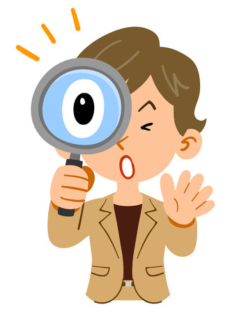 Businesswoman's upper body, short-hair, active, surprised at looking into the magnifying glass
