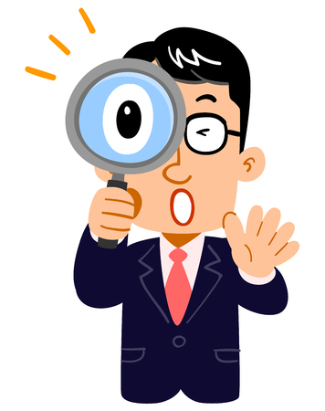 The upper body of a businessman surprised at peeping a magnifying glass, wearing glasses, teacher Çizim