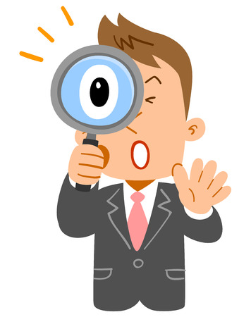 Businessmans upper body, young freshman who is surprised at peering into the magnifying glass Illustration
