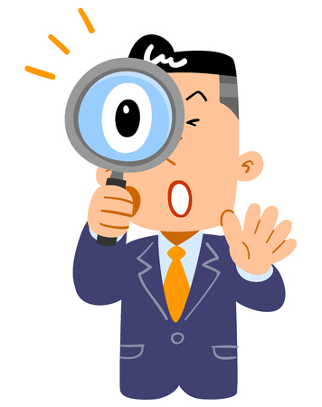 The upper body of an surprising businessman looking into the magnifying glass