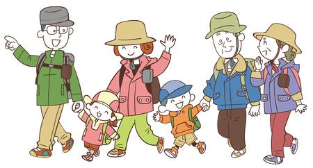 The three-generation family who hikes Vector Illustration