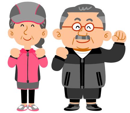 Senior couple in sportswear