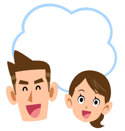 Smiling young couple copy space Ilustração