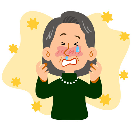 An elegant senior woman suffering from hay fever Ilustrace