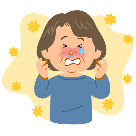 A plump senior woman suffering from hay fever Illustration