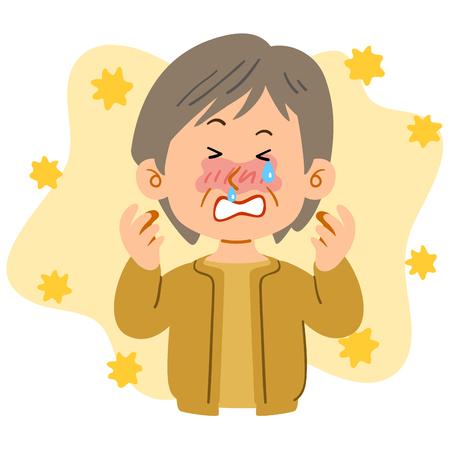 Donna anziana con i capelli corti che soffre di febbre da fieno