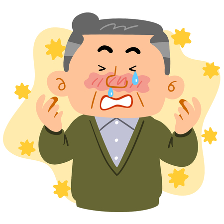A senior man suffering from hay fever Stock Illustratie