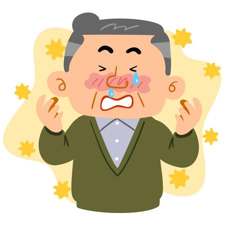 A senior man suffering from hay fever Illustration