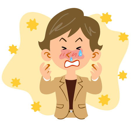 A Short hair woman working in the office suffering from hay fever Illustration