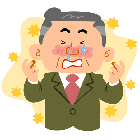 Middle-aged male employee who suffers from hay fever Illustration