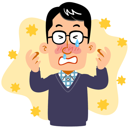 A man wearing eyeglasses suffering from hay fever