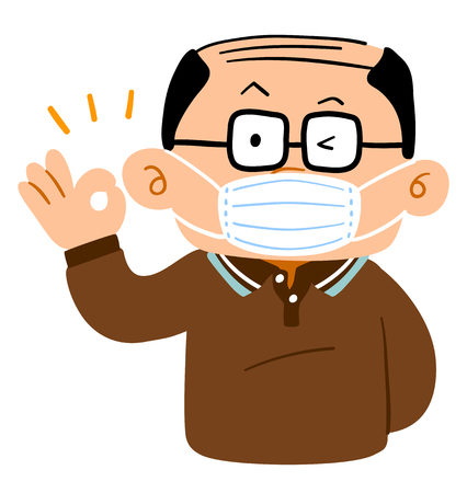 A Senior male with thin hair wearing glasses and mask