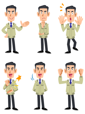 Male 6 types of facial expression and gesture set