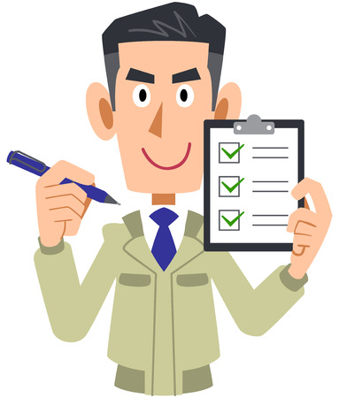 Man of the engineering firm having a check list  イラスト・ベクター素材