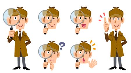 Ganzkörper- und Gesichtsausdruck-Set des männlichen Detektivs Vektorgrafik