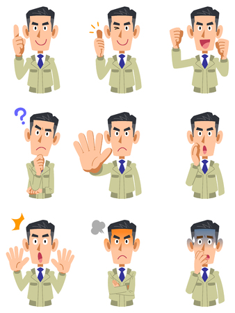 The upper body of a man wearing work clothes, 9 types of facial expressions and gestures 2 Ilustrace