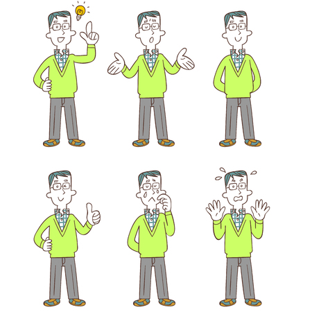 Poses and gestures of a man wearing glasses Full body