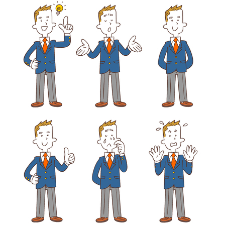 Poses and gestures of male student in uniforms, Full body