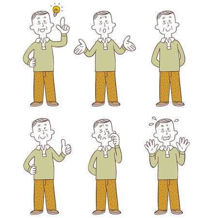 Poses and gestures of middle-aged and older men Whole body