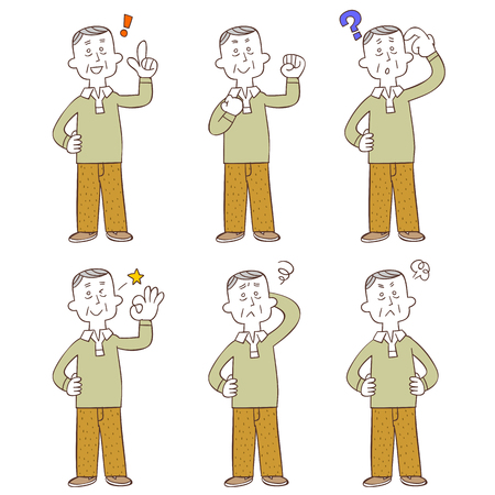 Poses and gestures of middle-aged and older man, Whole body