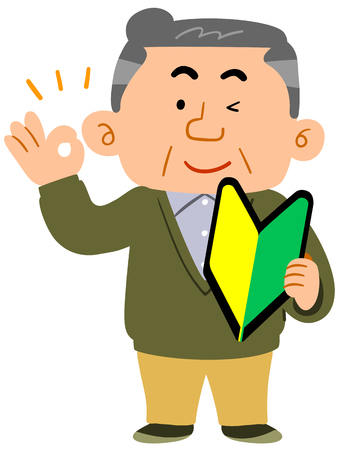 Senior man wearing regular clothes with a beginner's mark and giving an OK sign