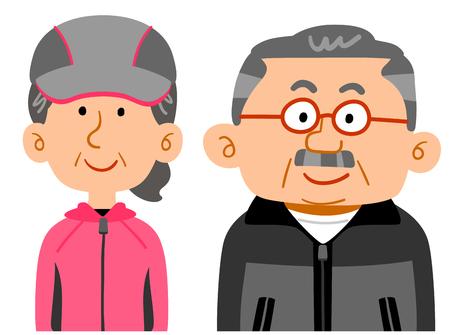Senior couple wearing sportswear The upper half of the wealthy people Ilustração
