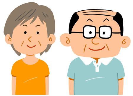 Senior couple wearing sportswear Waist upper thinner glasses