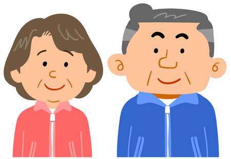 Senior couple wearing sportswear Waist upper body