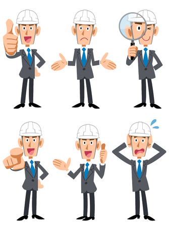 6 poses and gestures of a businessman wearing a helmet